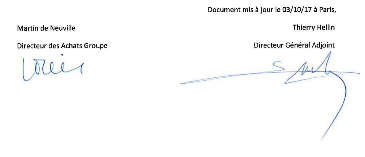 Signatures de la Direction