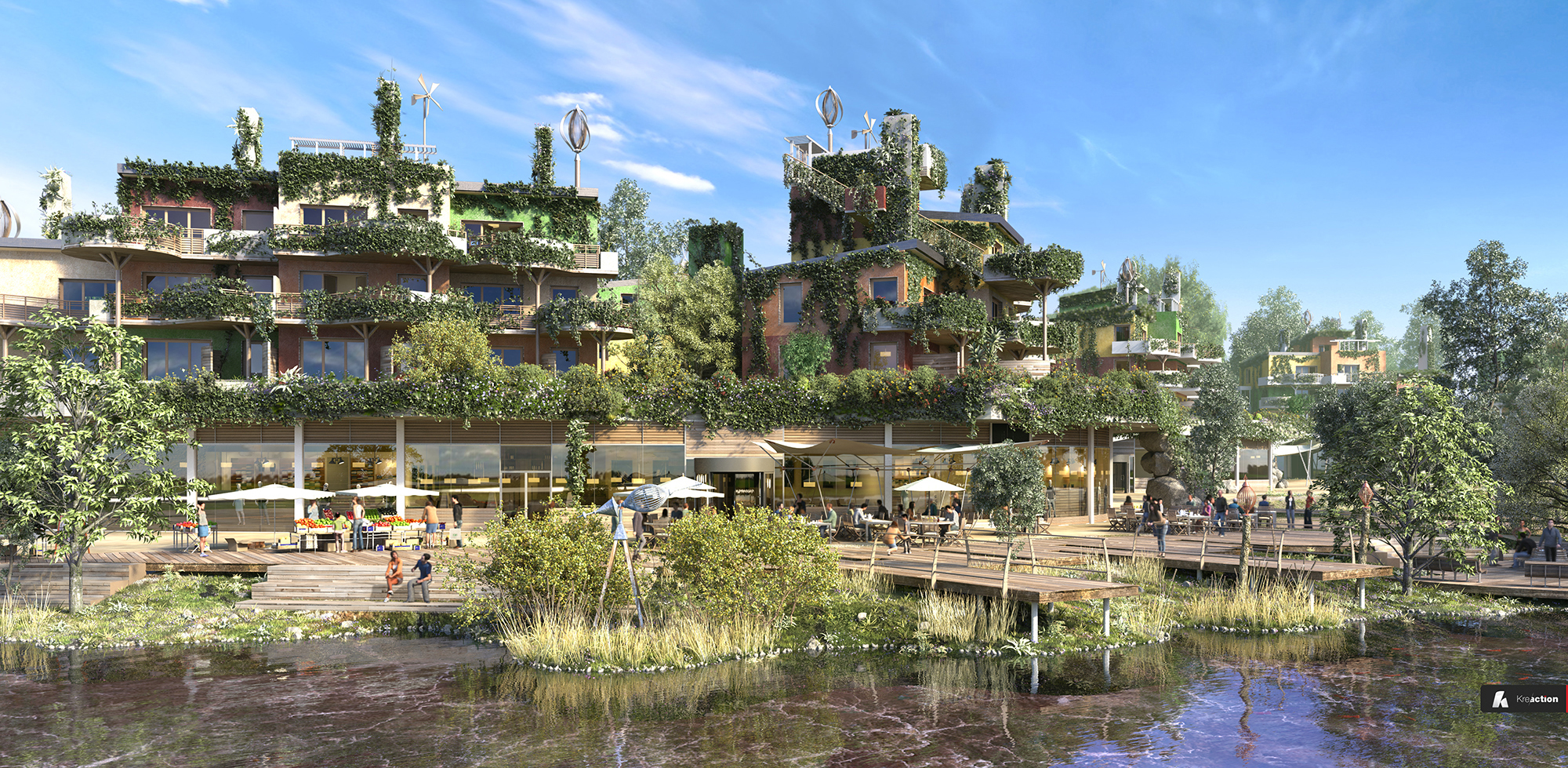 De hangende tuinen en de promenade aan het meer © T. Huau Interscène - Jean de Gastines Architectes