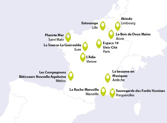 Localisation des projets sélectionnés en octobre 2018