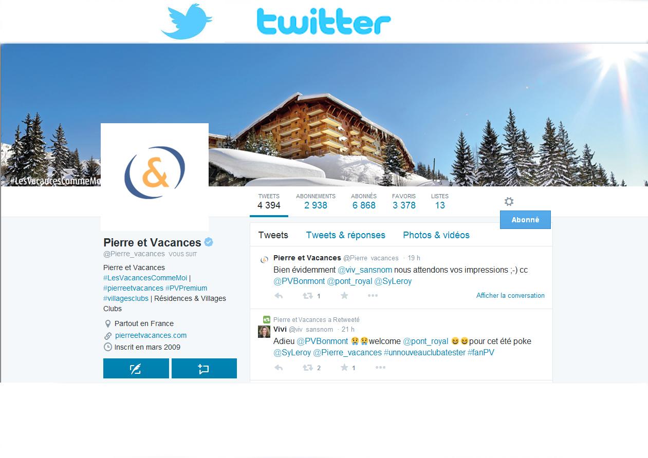 Pierre & Vacances opTwitter