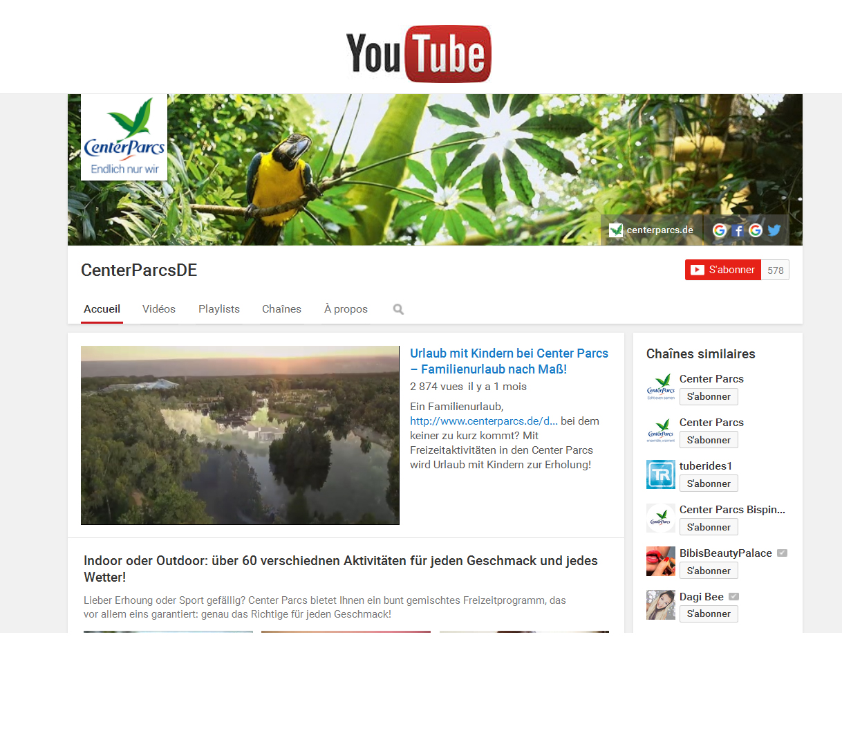 Center Parcs on YouTube