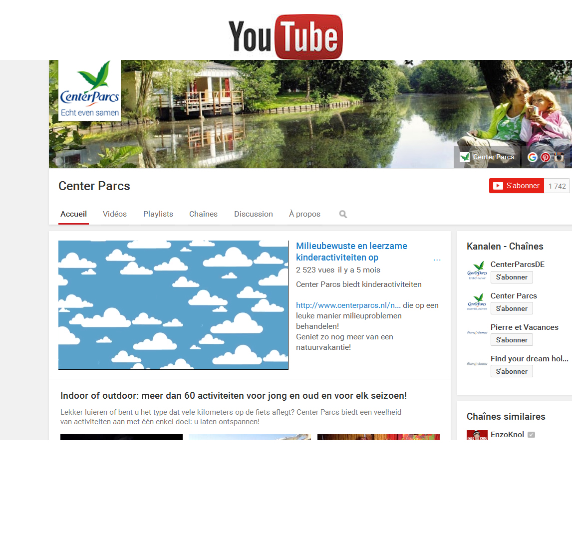 Center Parcs op YouTube