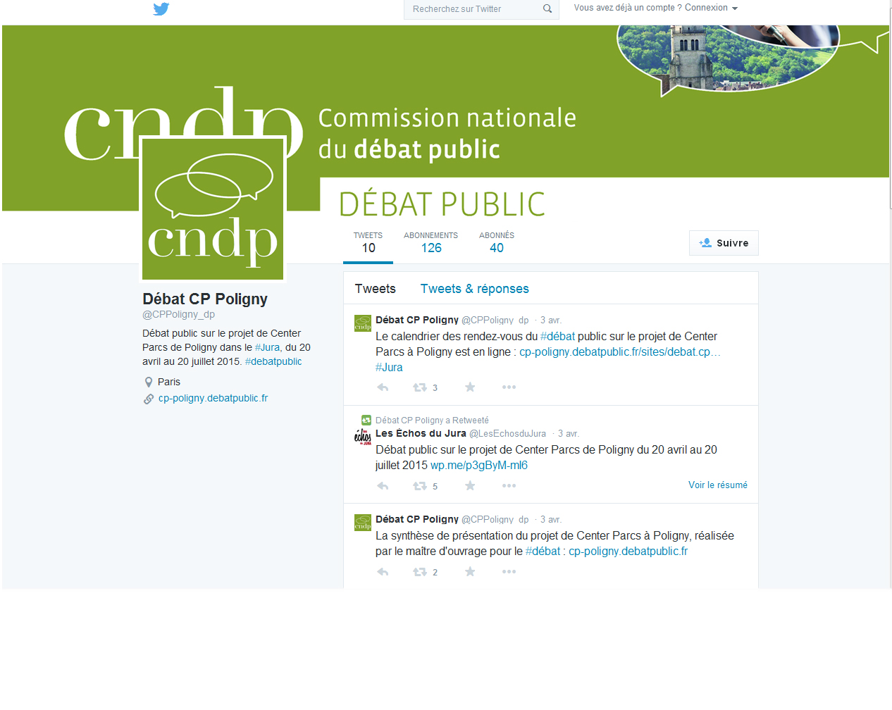 Suivre le compte twitter de la CNDP pour le projet de Poligny