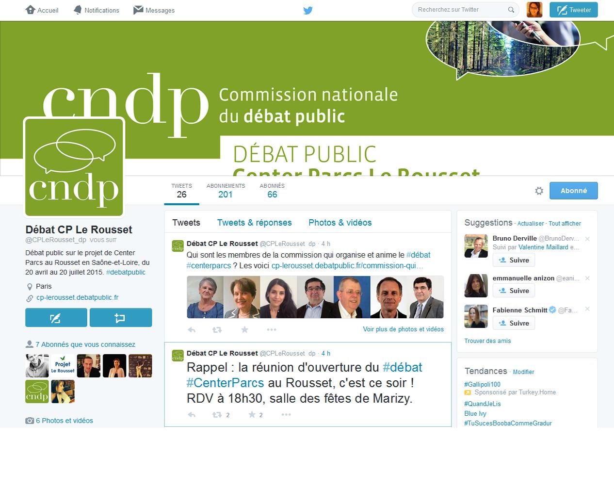 Suivre le compte twitter de la CNDP pour le projet du Rousset