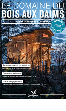 Die Broschüre nachhaltige Entwicklung des Center Parcs Bois aux Daims